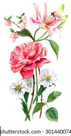 A vintage style watercolour drawing of a bouquet of roses and other flowers on white background