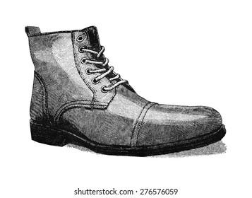 Vintage styled digital illustration of a men's leather shoe.