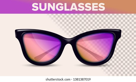 Vintage Stylish Sunglasses, Trendy 3D Shades. Sunglasses With Pink Gradient Lens Isolated Clipart. Optics Store Assortment. Eyewear On Background. Accessories Realistic Illustration