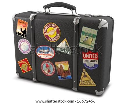 vintage suitcase stickers stock illustration 16672456 shutterstock
