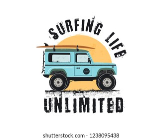Vintage Surf Emblem with retro woodie car. Surfing Life Unlimited typography. Included surfboards, road and sun symbols. Good for T-Shirt, mugs. Stock isolated on white background.