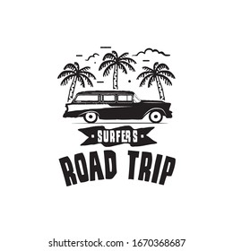Vintage surf logo print design for t-shirt and other uses. Surfers Road Trip typography quote calligraphy and van car icon. Unusual hand drawn surfing graphic patch emblem. Stock