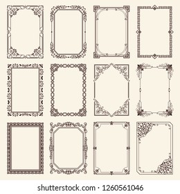 Vintage swirly black and white elegant frames set isolated cartoon flat raster illustrations on white background. Ancient frameworks for photo.