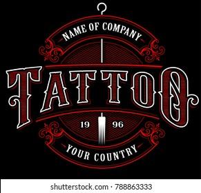 Vintage tattoo lettering illustration. Tattoo design, logo template, shirt graphic. VERSION FOR DARK BACKGROUND. (RASTER VERSION)