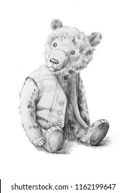 Vintage teddy bear in the jacket. Pencil drawing
