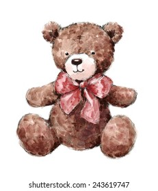 Vintage Teddy Bear Wearing A Bow Hand Painted Watercolor Illustration isolated on white background