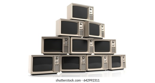 Vintage televisions isolated on white background. 3d illustration
