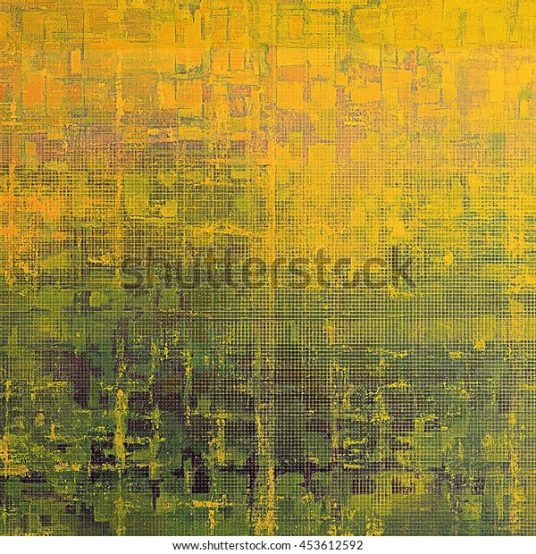 Vintage texture, old style frame decoration with grunge graphic elements and different color patterns: yellow (beige); brown; green; red (orange)