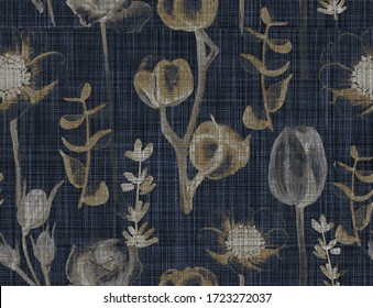 Vintage textures effect with floral  Fashion and stylish background. Illustration Tulip, rose, chamomile, cotton branch, lavender, eucalyptus leaves, floral collage pattern watercolor drawing artistic