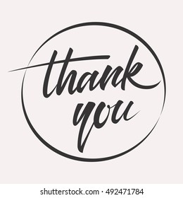 Vintage thank you handwritten inscription. hand drawn lettering. Thank you calligraphy. Thank you card. Image illustration.