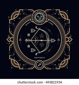 Vintage thin line Sagittarius zodiac sign label. Retro astrological symbol, mystic, sacred geometry element, emblem, logo. Stroke outline illustration.