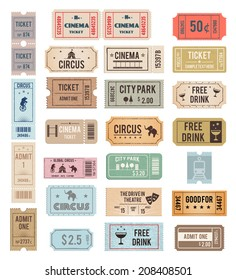 vintage tickets with different grange textures illustration
