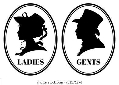 Vintage toilet wc sign with lady and gentleman head in victorian hats and clothes. Signs for toilet, illustration of silhouette gentleman and lady head for emblem toilet
