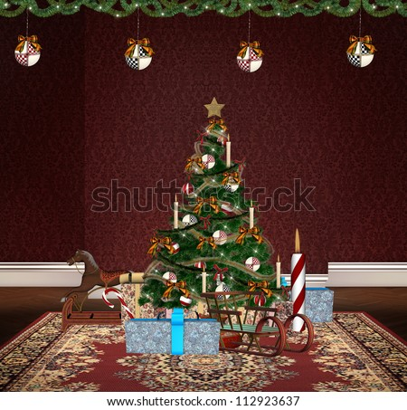 Vintage Toys Under Christmas Tree Stock Illustration Royalty Free