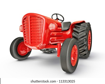 vintage tractor isolated on a white  background