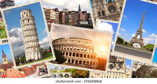 Vintage travel background with retro photos of european landmarks. Horizontal banner with old photos of Eiffel tower in Paris, Leaning Tower of Pisa, Colosseum in Rome. 3d render