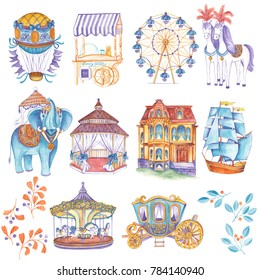 Vintage travel and fun collection. Watercolor hand drawn illustration of air balloon, horses, carriage, victorian house, ship, carousels, candy cotton, elephant, gazebo