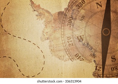 Vintage Travel Manuscript With Map and Compass Adventure Background,Map Elements of this image furnished by NASA
