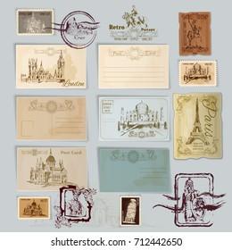 Vintage Travel Postcards Post Stamps Template Stock Illustration
