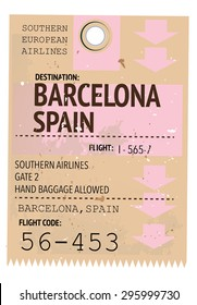 vintage travel ticket to Barcelona.