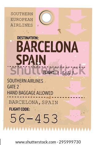 Vintage travel ticket barcelona stock illustration - Mobles vintage barcelona ...