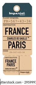 vintage travel ticket to France.