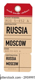 vintage travel ticket to Russia, Moscow.