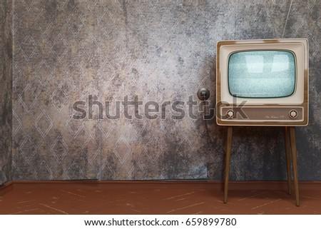 Vintage Tv Receiver On Dirty Wallpapers Background 3d Illustration