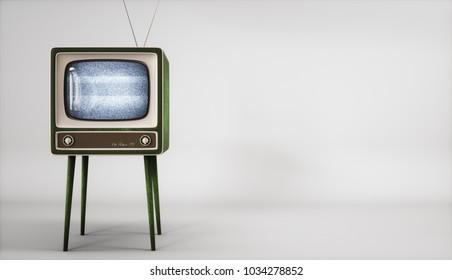Vintage TV receiver on white background 3d rendering