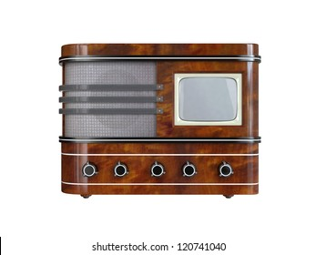 Vintage TV Set on white background. 3D image