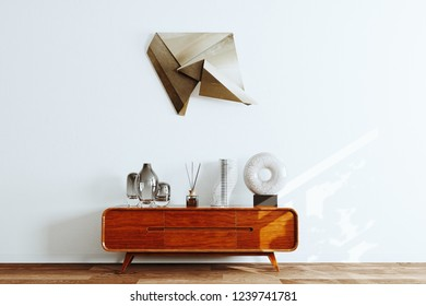 Vintage tv stand handmade furniture in white interior 3d render