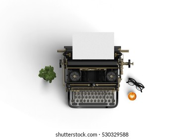vintage typewriter with hot coffee cup on the color background 3d rendering