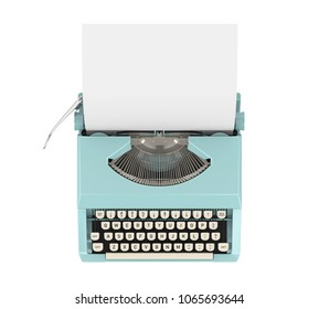 Vintage Typewriter Isolated (top view). 3D rendering
