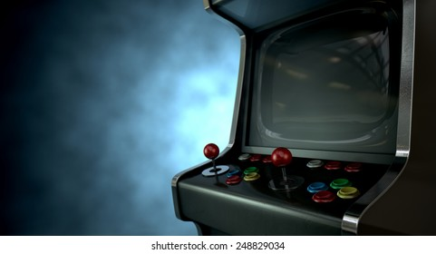 A vintage unbranded arcade game with a joysticks and buttons and a blank screen on a dark ominous background with copy space
