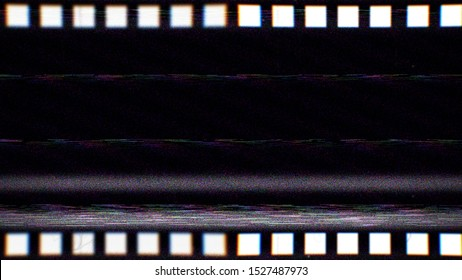 Vintage VHS film strip. Old reel overlay with dirt, defects, noise, scratches, camera roll burns, grain and dust. Set TV tape glitch effect 4K 3D render on black background