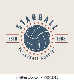 Vintage volleyball label, emblem or logo. Graphic art. illustration