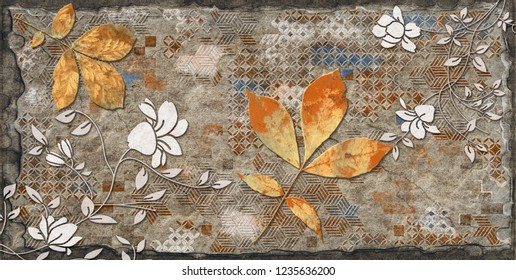 vintage wall art decor, Retro Brown Colored Wall Tiles Decor For Home or Digital Colorful wall Tiles Design.wallpaper, linoleum, textile, web page background.