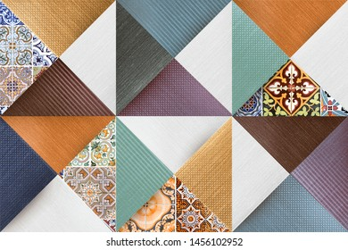 vintage wall art decor,Colored Wall Tiles Decor For Home or Digital Colorful wall Tiles Design.wallpaper, linoleum, textile,