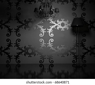 the vintage wallpaper  in modern blank  interior  (3D rendering)