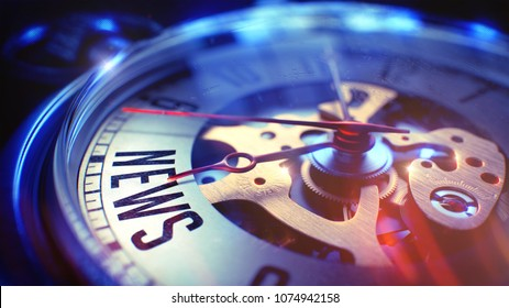 Vintage Watch Face with News Text on it. Business Concept with Film Effect. News. on Watch Face with Close Up View of Watch Mechanism. Time Concept. Light Leaks Effect. 3D.