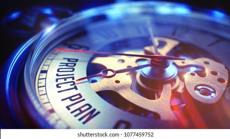 Vintage Watch Face with Project Plan Inscription, Close Up View of Watch Mechanism. Business Concept. Lens Flare Effect. 3D.