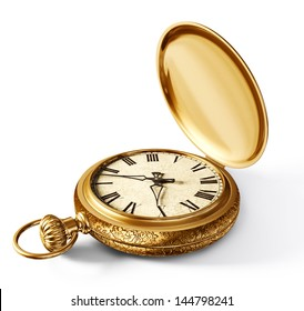 vintage watch isolated on a white background