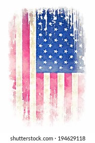 Vintage watercolor of American flag illustration.