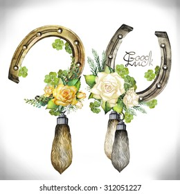 Vintage watercolor design with horseshoes, rabbit foots,roses and clover isolated on white background. Decorations for Saint Patrick's Day
