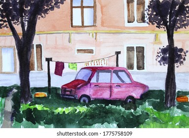 A vintage watercolor illustration of a car stanging near a house in a summertime.