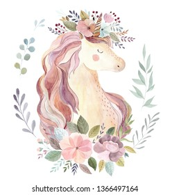Vintage watercolor illustration with cute unicorn and flowers in pastel colors