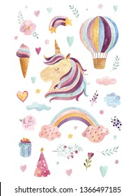 Vintage watercolor illustration with cute unicorn, rainbow, ice cream and flowers in pastel colors. Kids design with magical unicorn