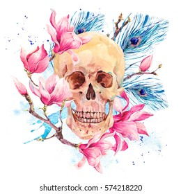 Vintage watercolor natural card with human skull and pink flowers Magnolia, peacock feathers. Hand drawn illustration isolated on white, tattoo design in boho style