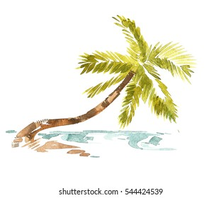 Vintage watercolor palm trees and waves card
