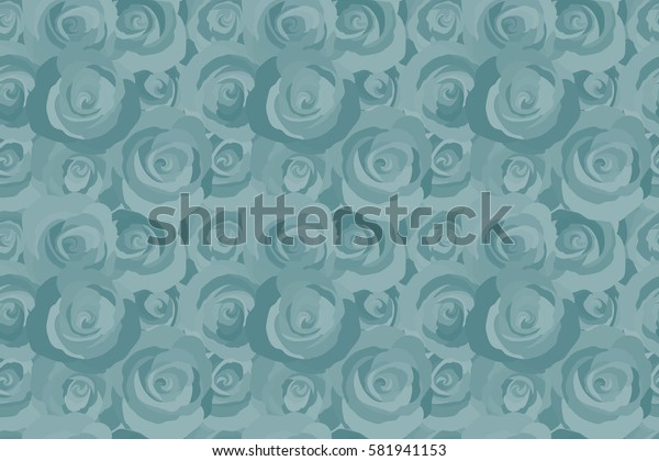 Vintage Watercolor Roses (hand drawn). Raster seamless pattern of abstract blue roses.